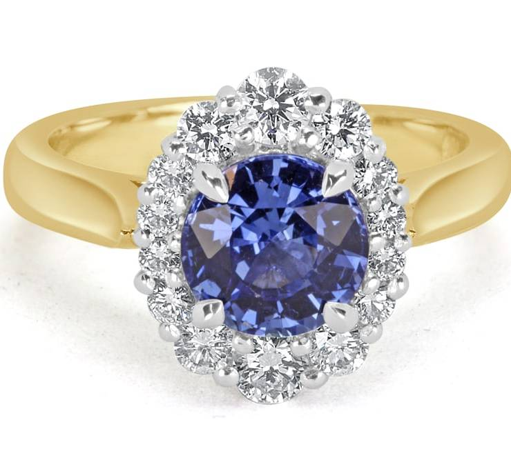 Ladies Halo Design Coloured Stone Engagement Ring - R14295 - GN Designer Jewellers