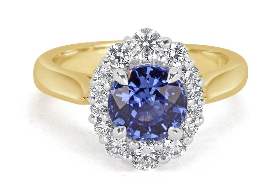Ladies Halo Design Coloured Stone Engagement Ring - R14295 - GN Designer Jewellers