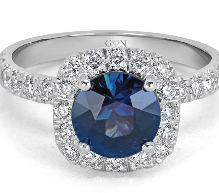 Ladies Halo Design Coloured Stone Engagement Ring - R14298 - GN Designer Jewellers