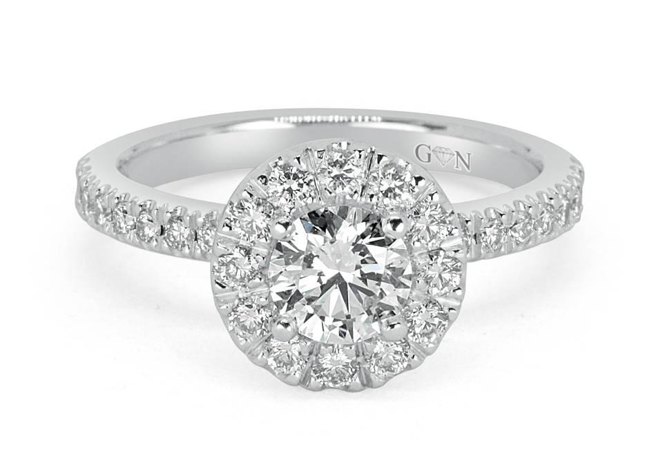 Ladies Halo Design Engagement Ring - R14305 - GN Designer Jewellers