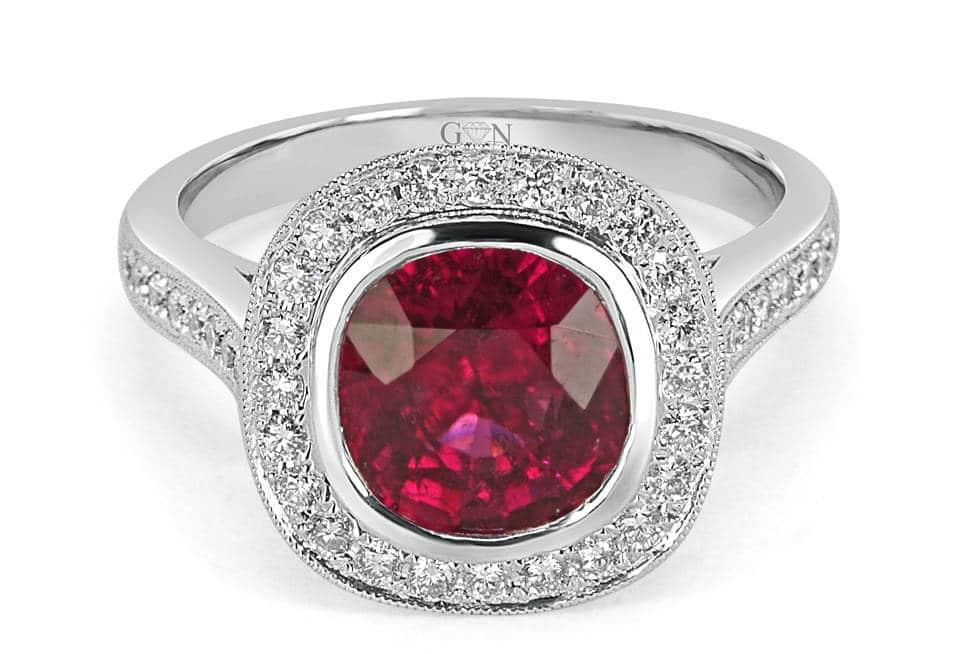 Ladies Halo Design Engagement Ring - R731 - GN Designer Jewellers