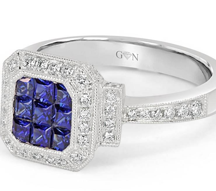 Ladies Halo Design Coloured Stone Engagement Ring - R526 - GN Designer Jewellers