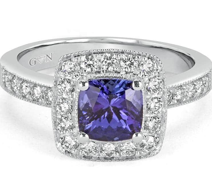 Ladies Halo Design Coloured Stone Engagement Ring - R683 - GN Designer Jewellers