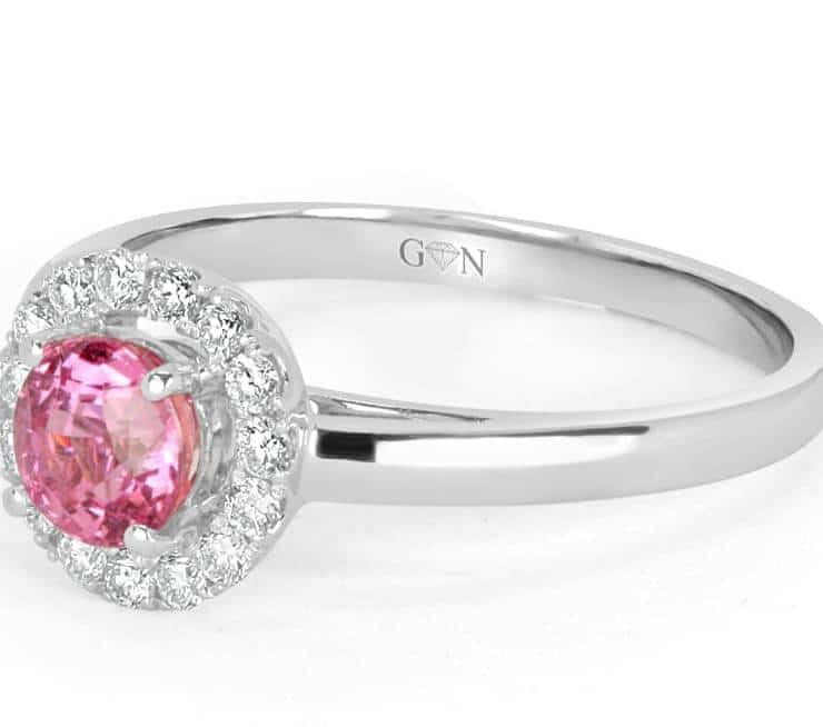 Ladies Halo Design Coloured Stone Engagement Ring - R695 - GN Designer Jewellers